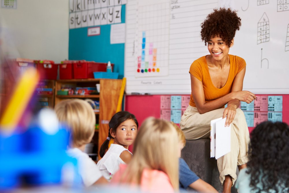 A teacher in front of the class talking to her students.   Photo: Shutterstock