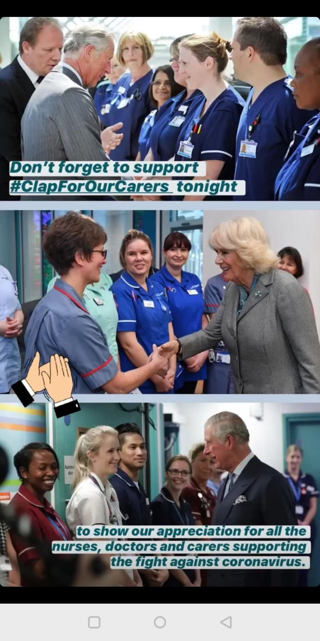 Prince Charles and Duchess Camilla meeting medical staff, images shared on March 26, 2020 | Photo: Instagram Story/clarencehouse