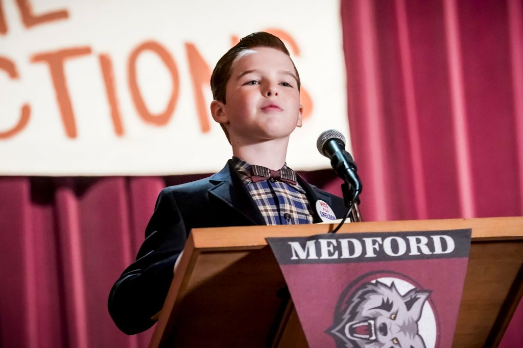 Sheldon (Iain Armitage). Unhappy that school funds are going towards football rather than academics, Sheldon decides to run for class president, on YOUNG SHELDON, Thursday, April 25 | Photo: Getty Images
