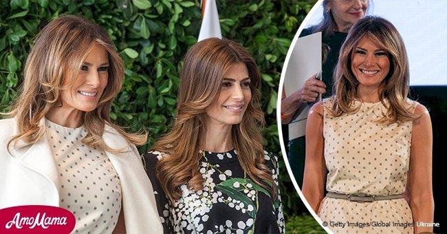 Melania Trump joins world leaders' wives in a $9,800 polka dot dress and elegant cream coat