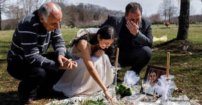 Herzzerreißendes Foto von trauernder Braut am Grab ihres Bräutigams