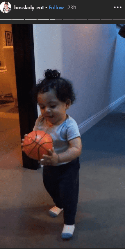 Elleven playing with a tiny ball. | Source: Instagram.com/Bosslady_ent