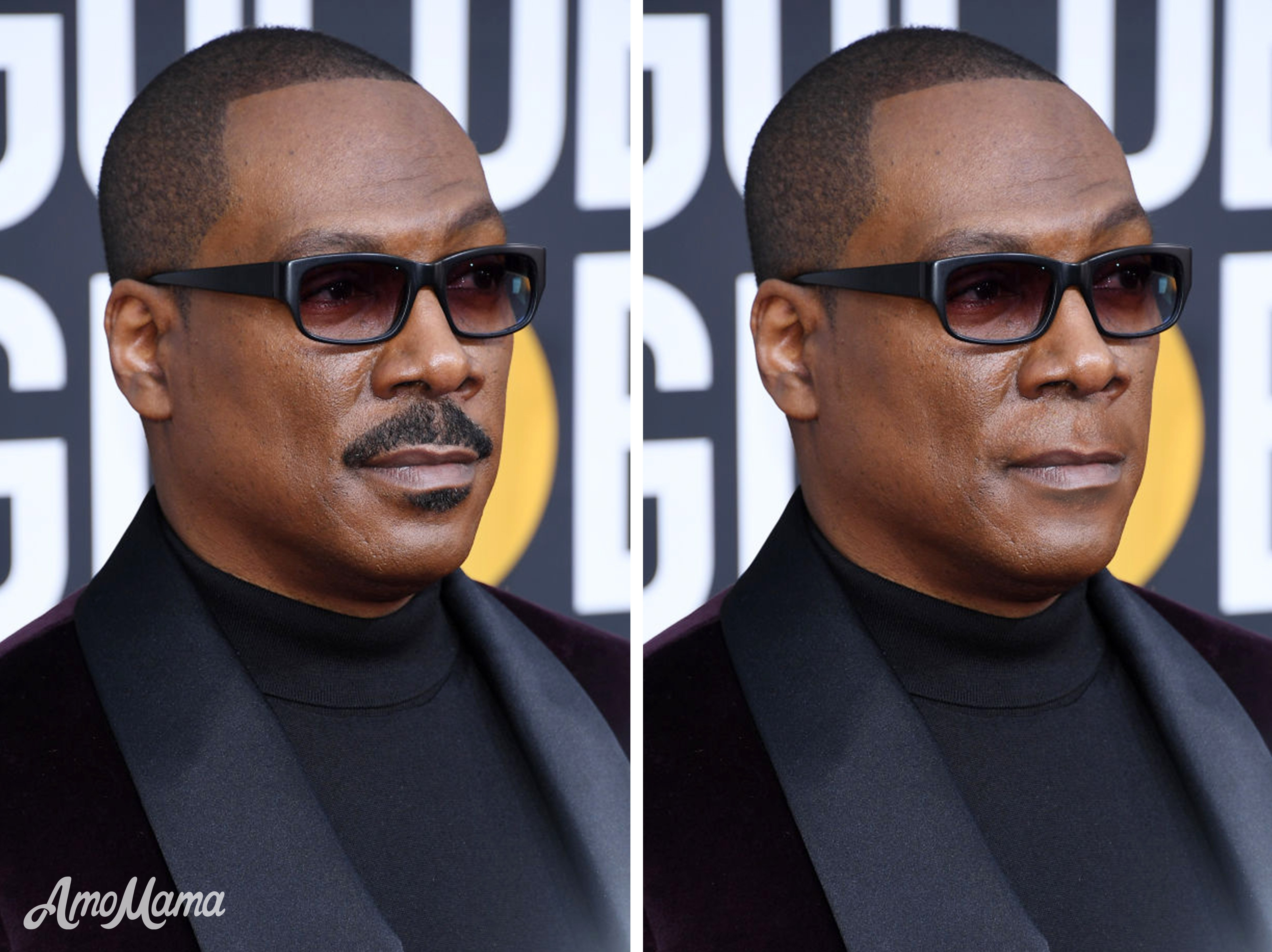Eddie Murphy's before and after moustache look | Photo: Getty Images