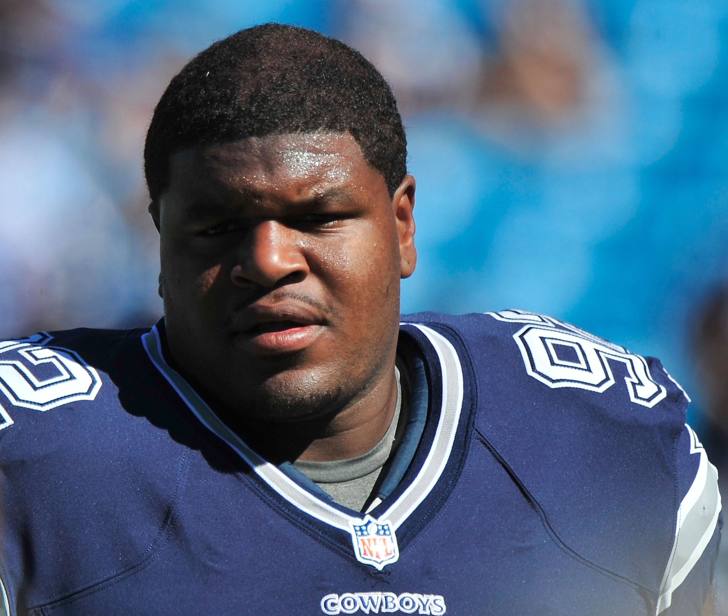 Josh Brent of the Dallas Cowboys at Bank of America Stadium on October 21, 2012   Photo: Getty Images