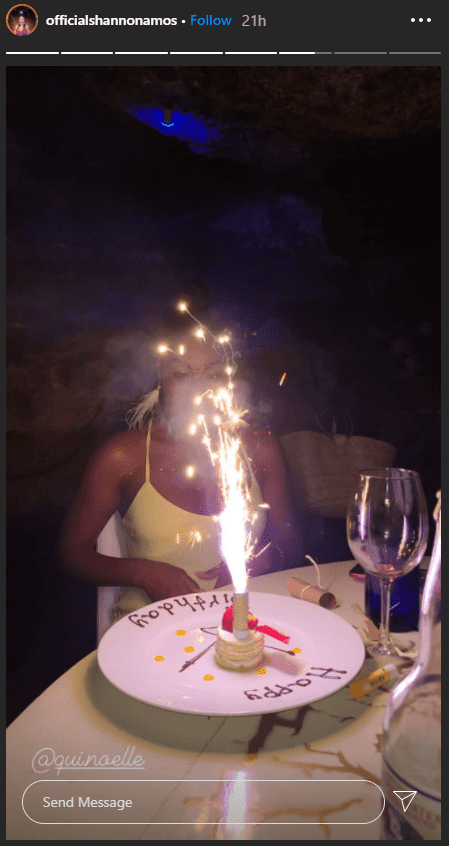Quiera Noelle with her cute birthday cake.   Photo: instagram.com/officialshannonamos