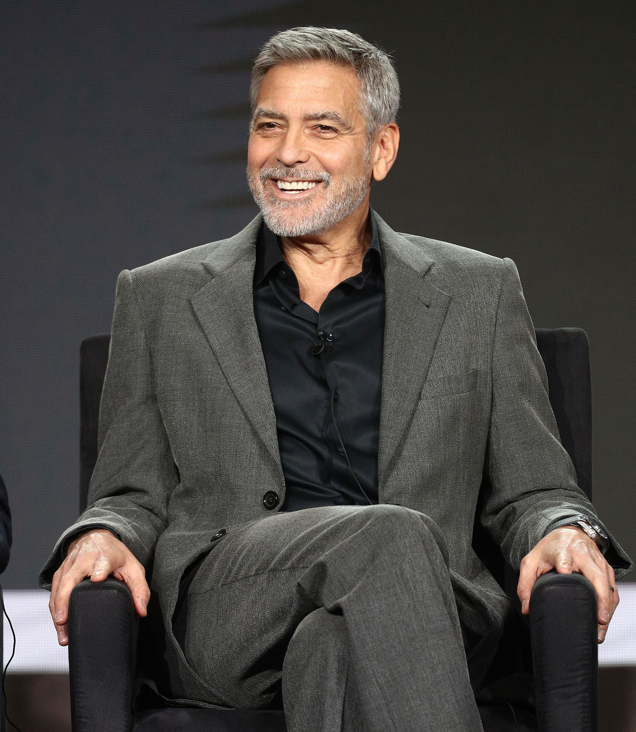 "George Clooney of the television show ""Catch 22"" speaks at the Hulu segment of the 2019 Winter Television Critics Association Press Tour at The Langham Huntington, Pasadena on February 11, 2019 