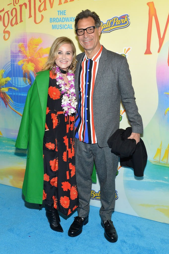 """Maureen McCormick and Michael Cummings attend the premiere of """"Esape to Margaritaville"""" in New York City on March 15, 2018 