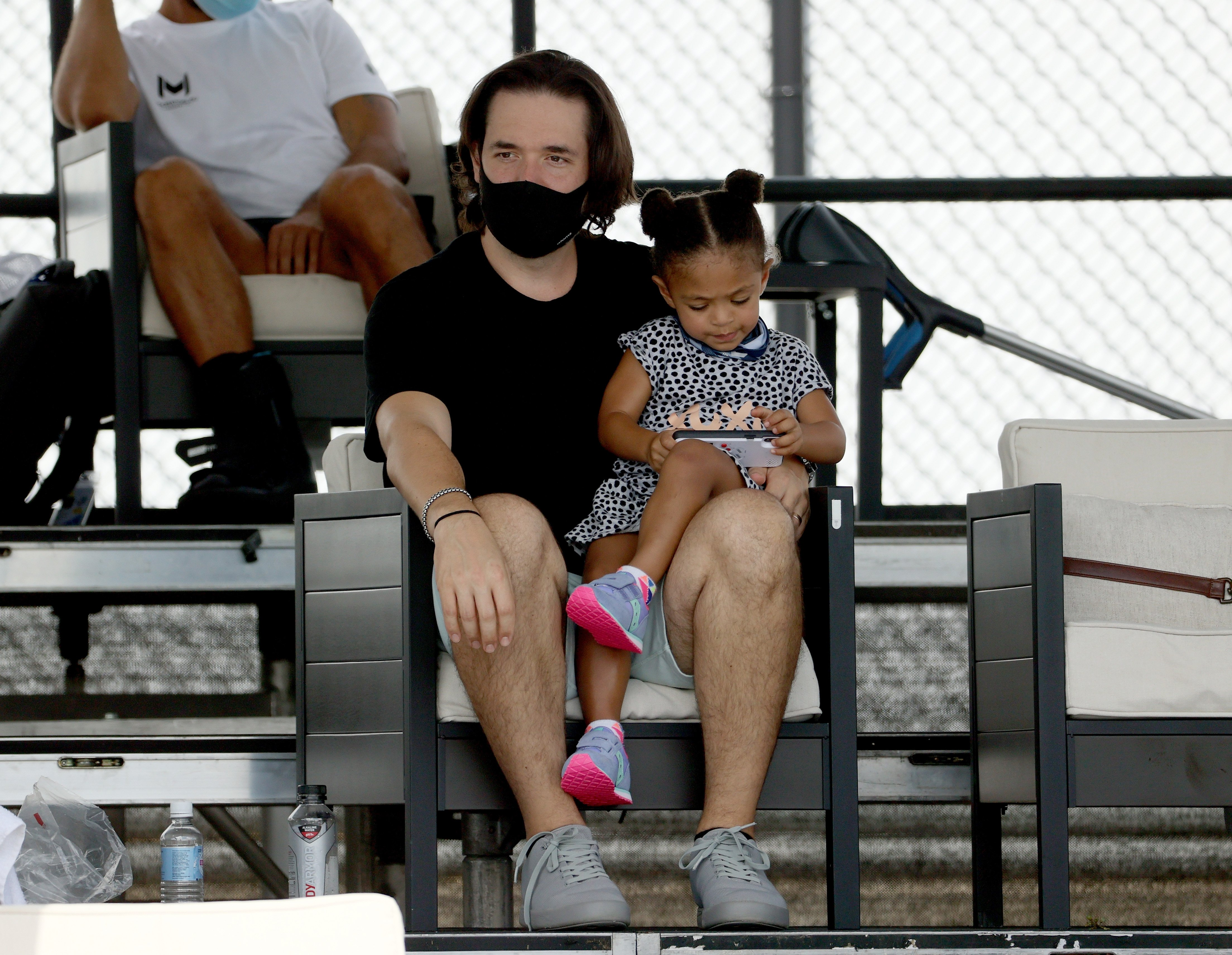 Serena Williams' husband, Alexis Ohanian, and daughter, Alexis Olympia Ohanian at the Top Seed Tennis Club on August 11, 2020 in Kentucky. | Photo: Getty Images