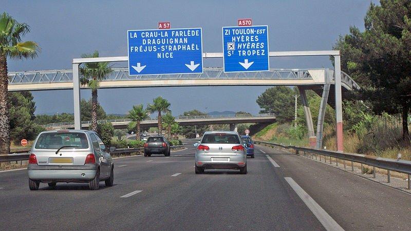 Échangeur entre les autoroutes A57 et A570, à l'est de Toulon, Var, PACA. | Wikimedia Commons