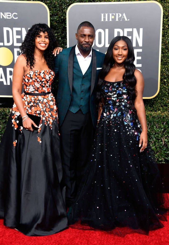 Actor Idris Elba, wife Sabrina Dhowre and daughter, Isan Elba attend the 2019 Golden Globe Awards in Beverly Hills, California. | Photo: Getty Images
