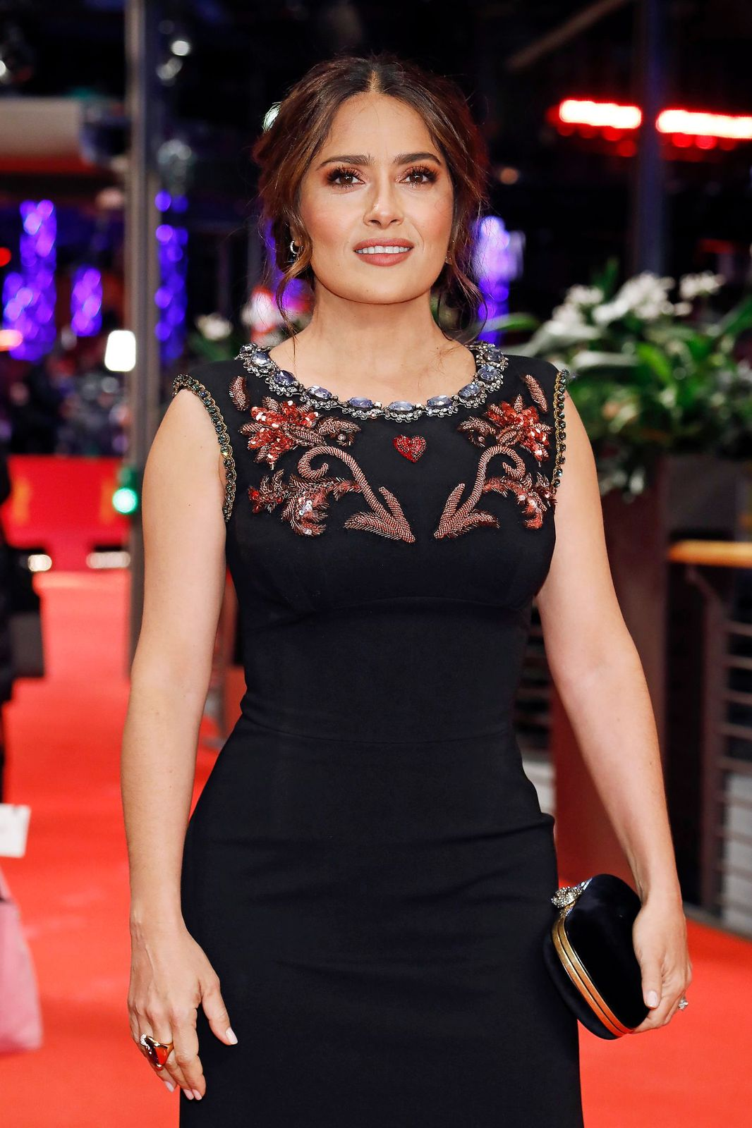 """Salma Hayek during the red carpet premiere of """"The Roads Not Taken""""during the 70th Berlinale International Film Festival on February 26, 2020, in Berlin, Germany 