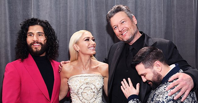 Gwen Stefani Wears  Shell-Covered Dress to 2020 Grammys in Sweet Tribute to Boyfriend Blake's Last Name