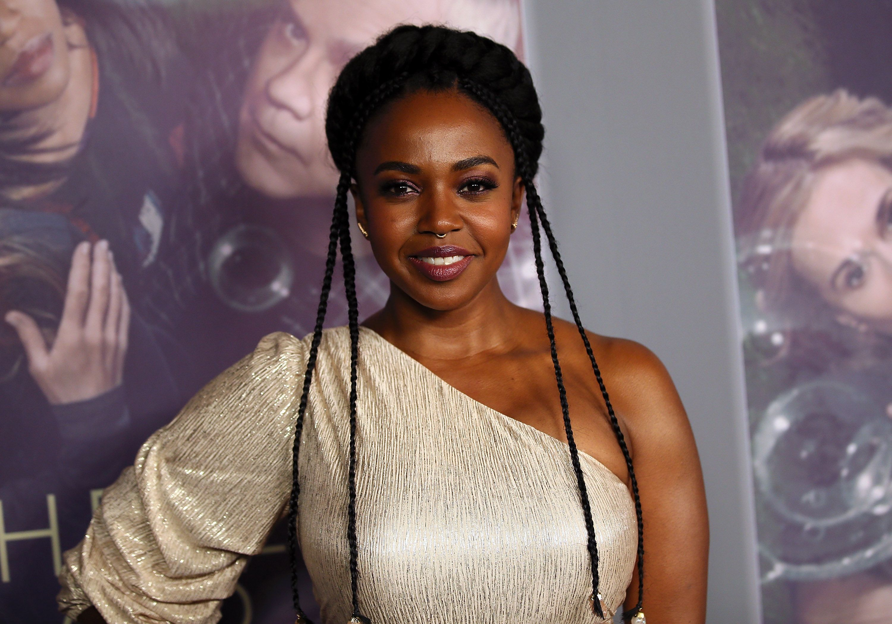 """Jerrika Hinton at the premiere of """"Here and Now"""" in 2018 in Los Angeles   Source: Getty Images"""