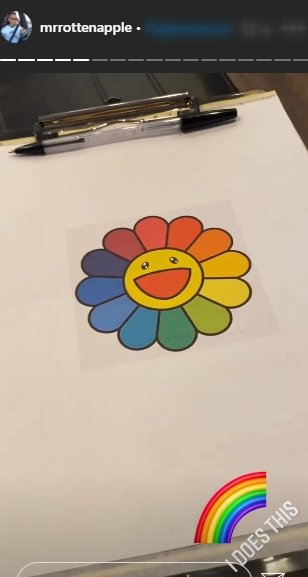 A photo of a colorful sunflower drawn on paper. | Photo: Instagram/Mrrottenapple