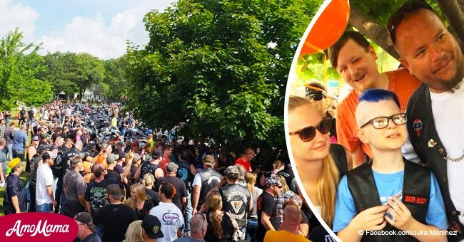 Hundreds of bikers help celebrate the birthday of a 10-year-old boy with autism