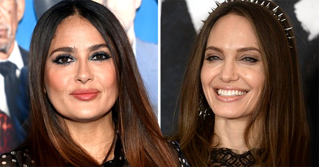 """Angelina Jolie at a photo call for """"Maleficent: Mistress of Evil"""" and Salma Hayek at the """"Hitman's Wife's Bodyguard"""" special screening , October 2019 and June 2021 
