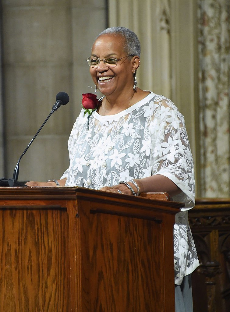 The daughter of Ruby Dee, Nora Davis Day speaks at the Ruby Dee Memorial Service at Assembly Hall of the Riverside Church on September 20, 2014. | Photo: Getty Images