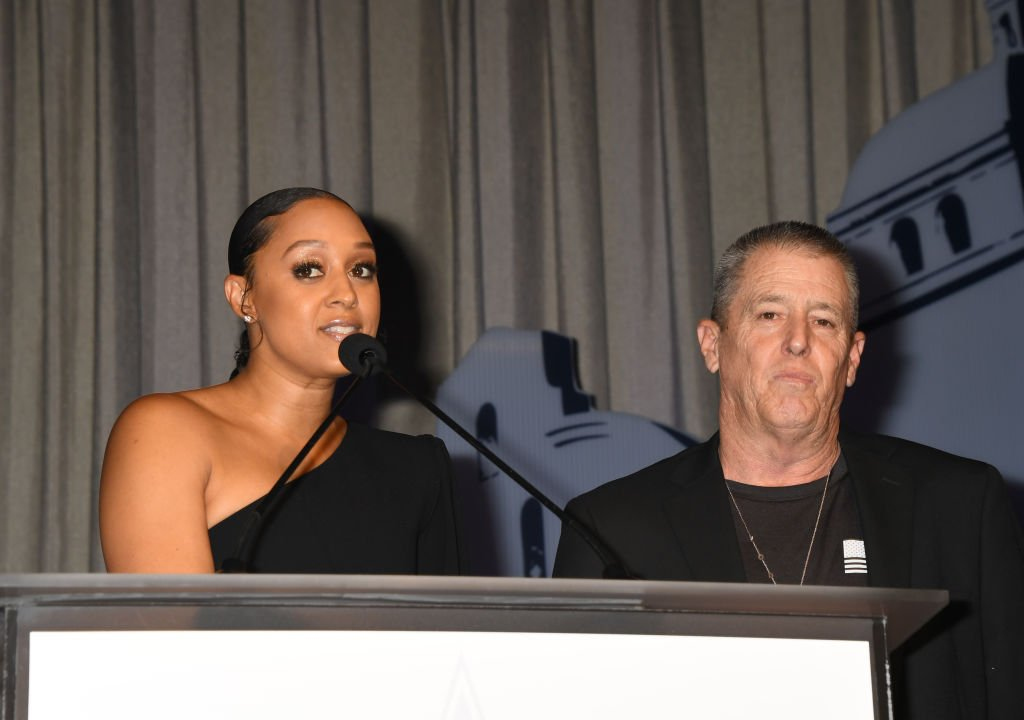 Tia Mowry and Timothy Mowry speak onstage during the U.S.VETS Salute Gala | Photo: Getty Images