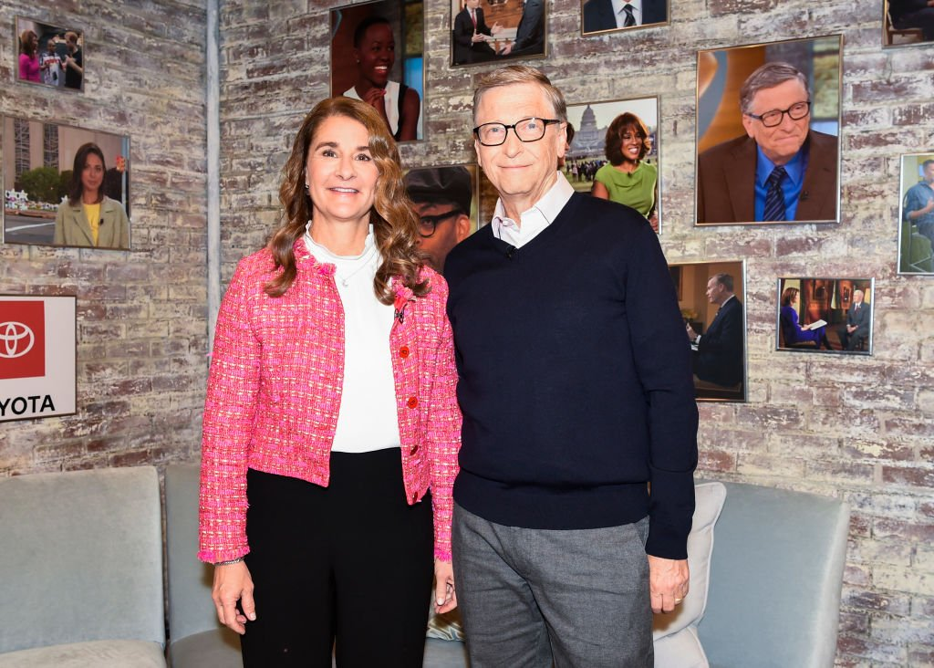 """Melinda Gates and Bill Gates pictured in the CBS Toyota Greenroom before their appearance on """"CBS This Morning,"""" 2019, New York City. 