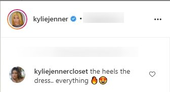 A fan's comment on Kylie Jenner's picture wearing a figure-fitting dress.   Photo: Instagram/Kyliejenner