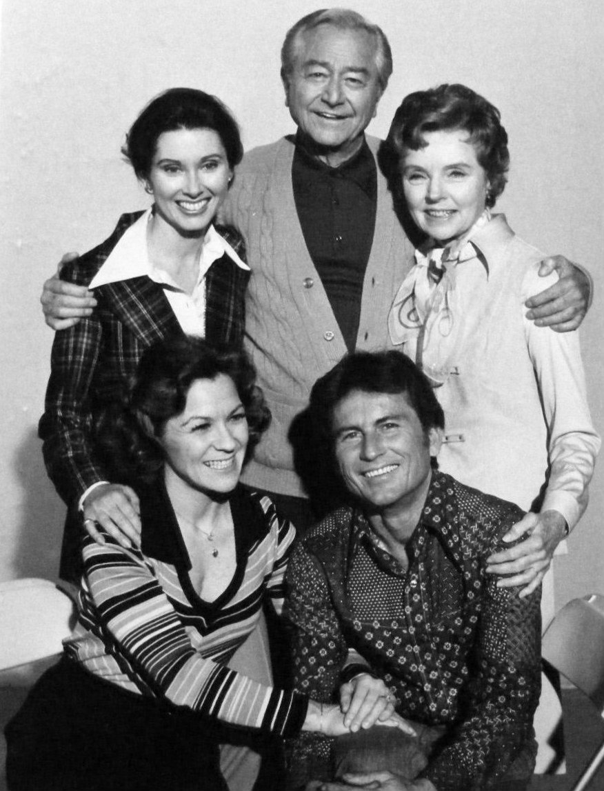"Publicity photo of the cast of the ""Father Knows Best Reunion."" Standing, from left: Elinor Donahue, Robert Young, Jane Wyatt. Seated, Lauren Chapin and Billy Gray. 