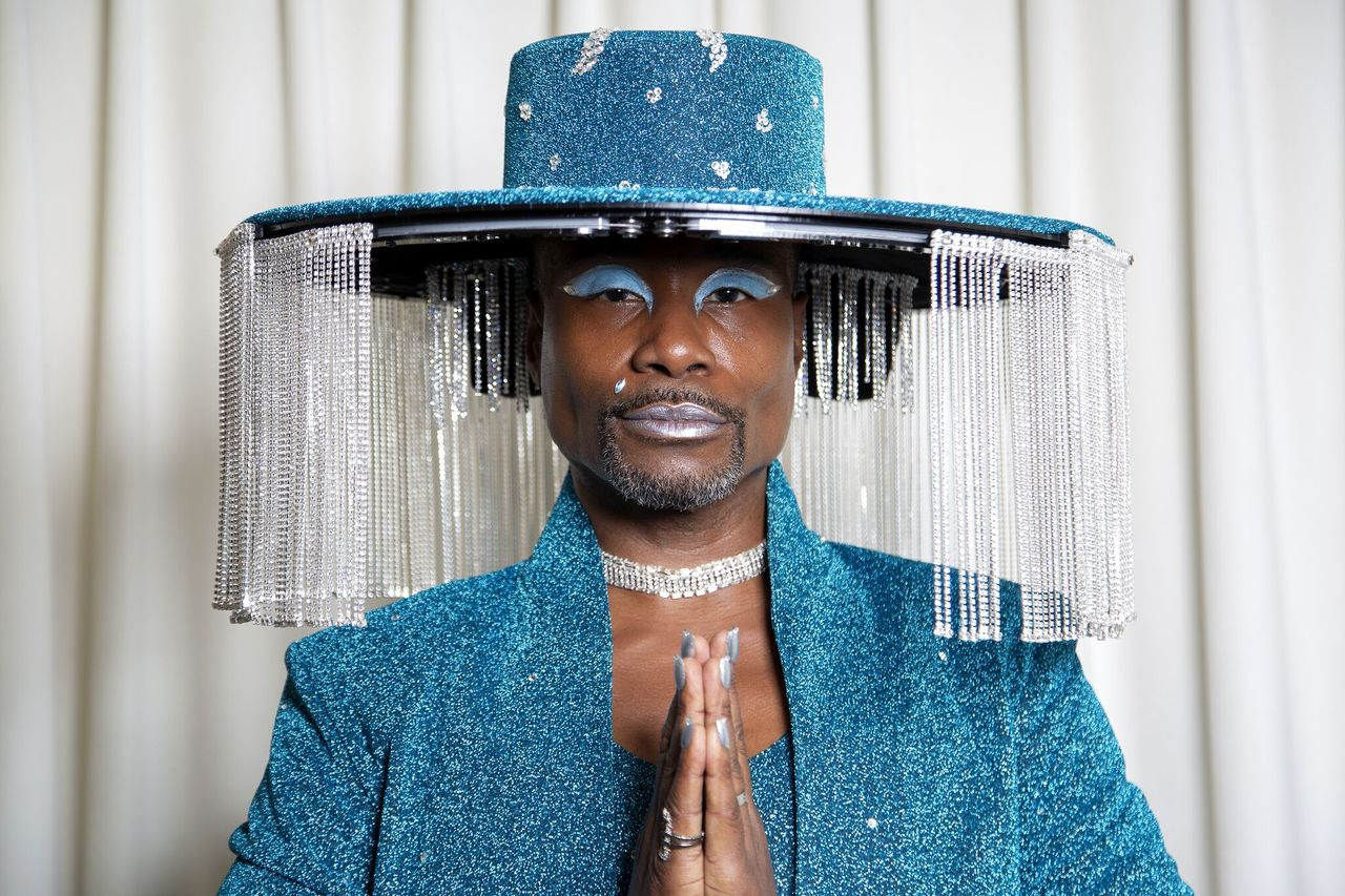 Billy Porter gets ready for The 62nd Annual GRAMMY Awards styled by Sam Ratelle, wearing BAJA EAST and custom hat by Sarah Sokol Millinery in Los Angeles, California | Photo: Getty Images