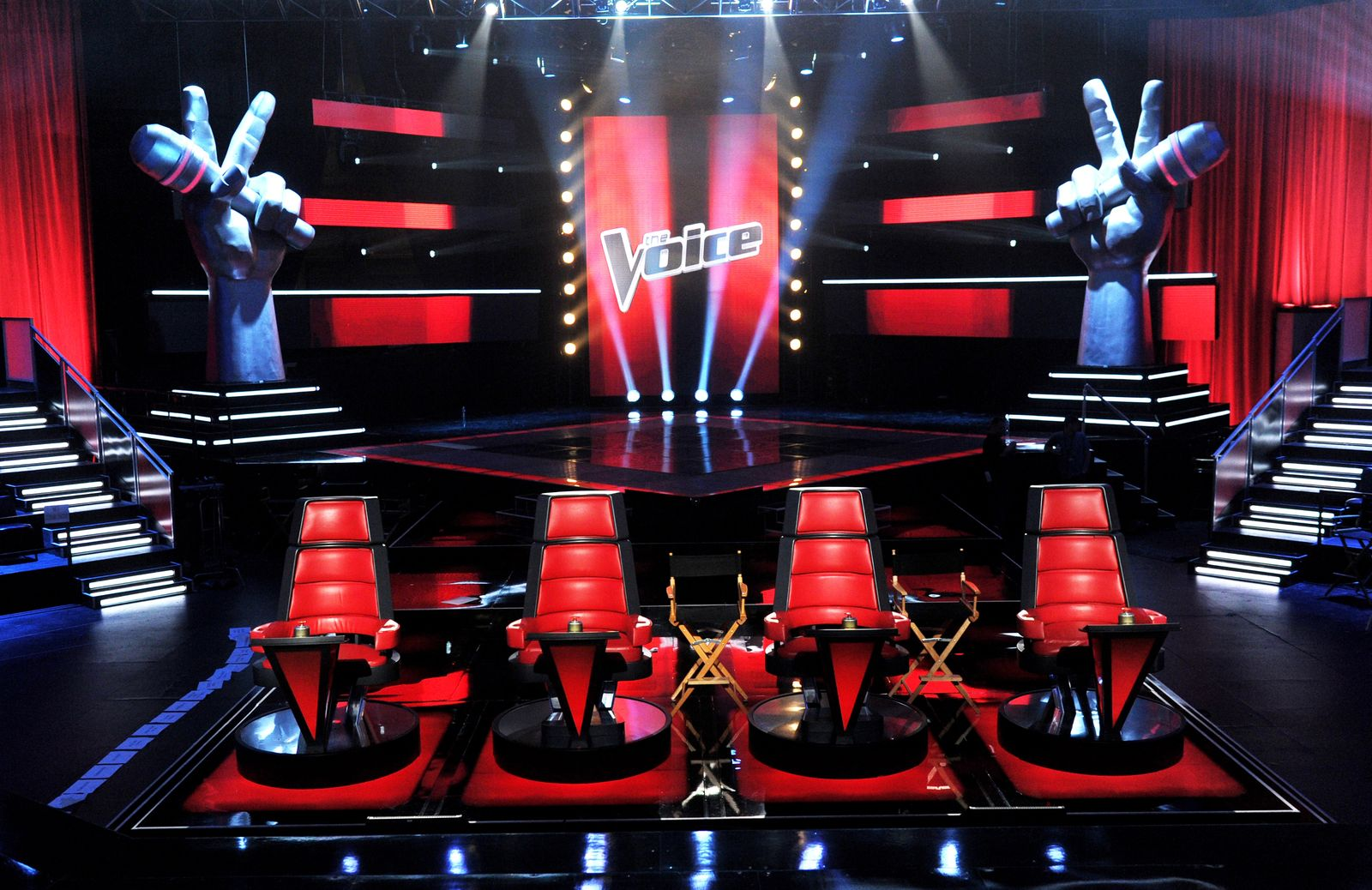 "A general view of the set is shown at a press junket for NBC's ""The Voice"" at Sony Studios on October 28, 2011, in Culver City, California 