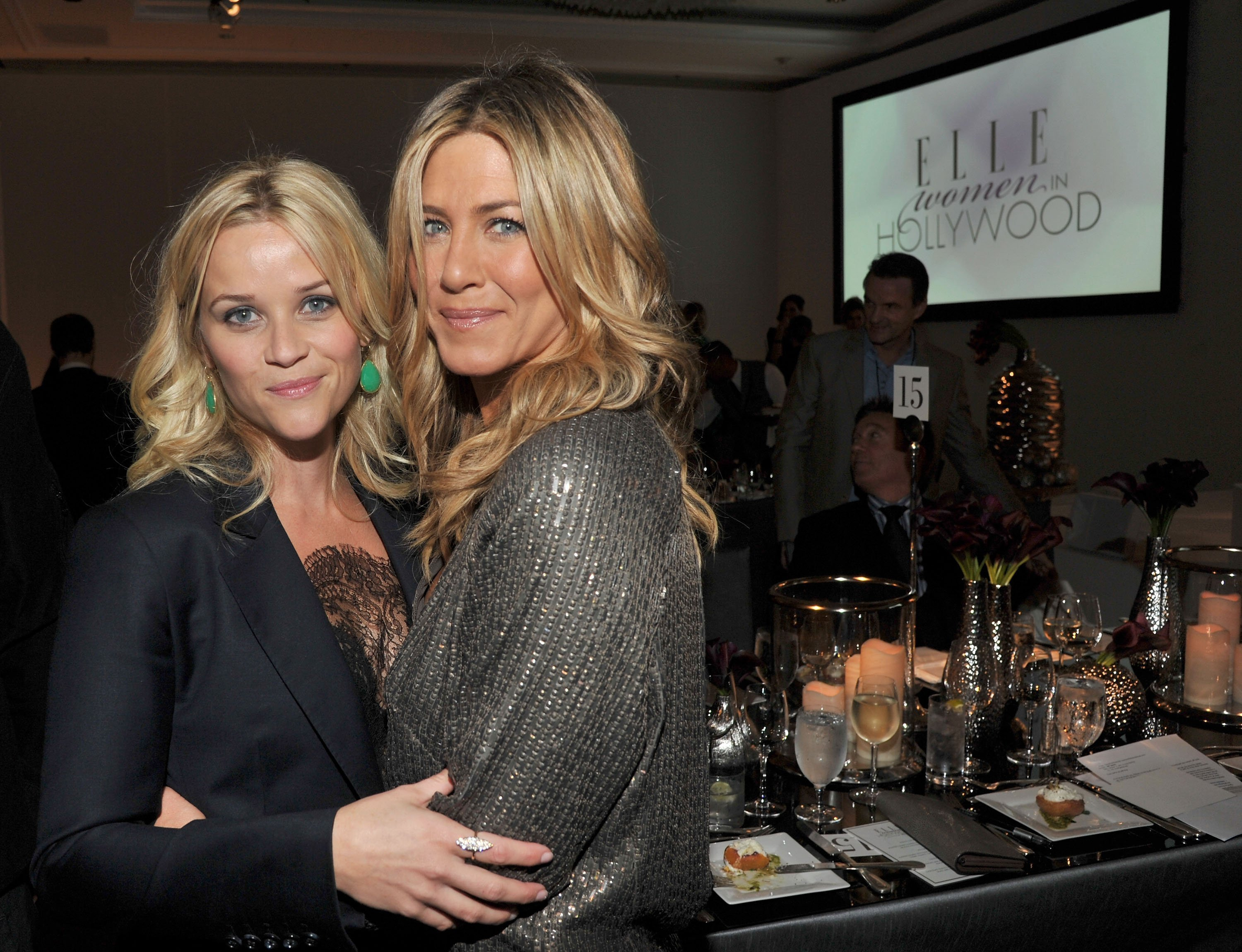 Reese Witherspoon (L) and Jennifer Aniston attend ELLE's 18th Annual Women in Hollywood Tribute on October 17, 2011 in Beverly Hills, California. | Source: Getty Images.