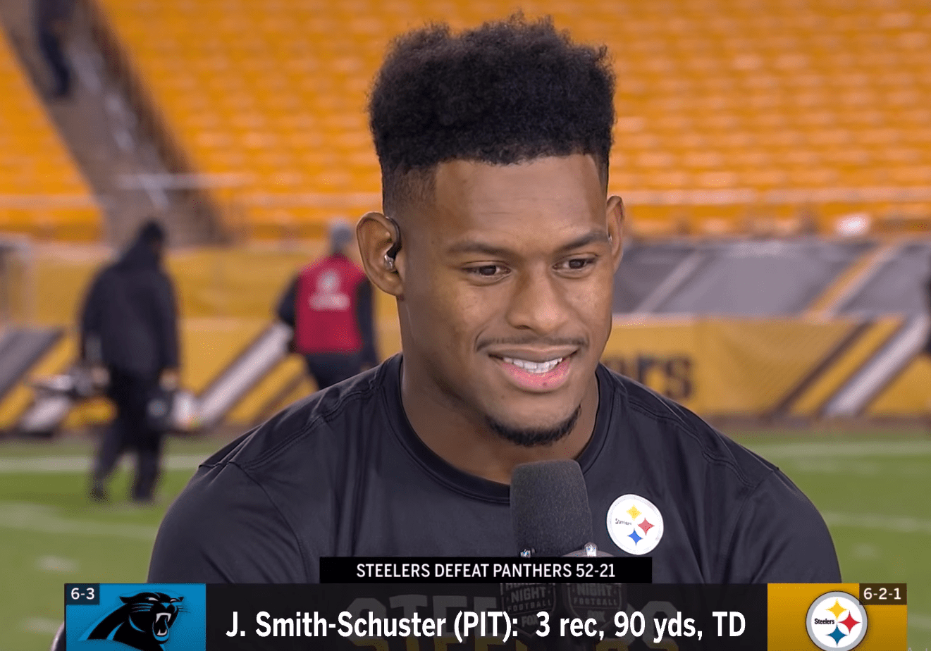 JuJu Smith-Schuster interviewed after a dominant win against the Panthers. | Photo: YouTube/NFL Media Originals