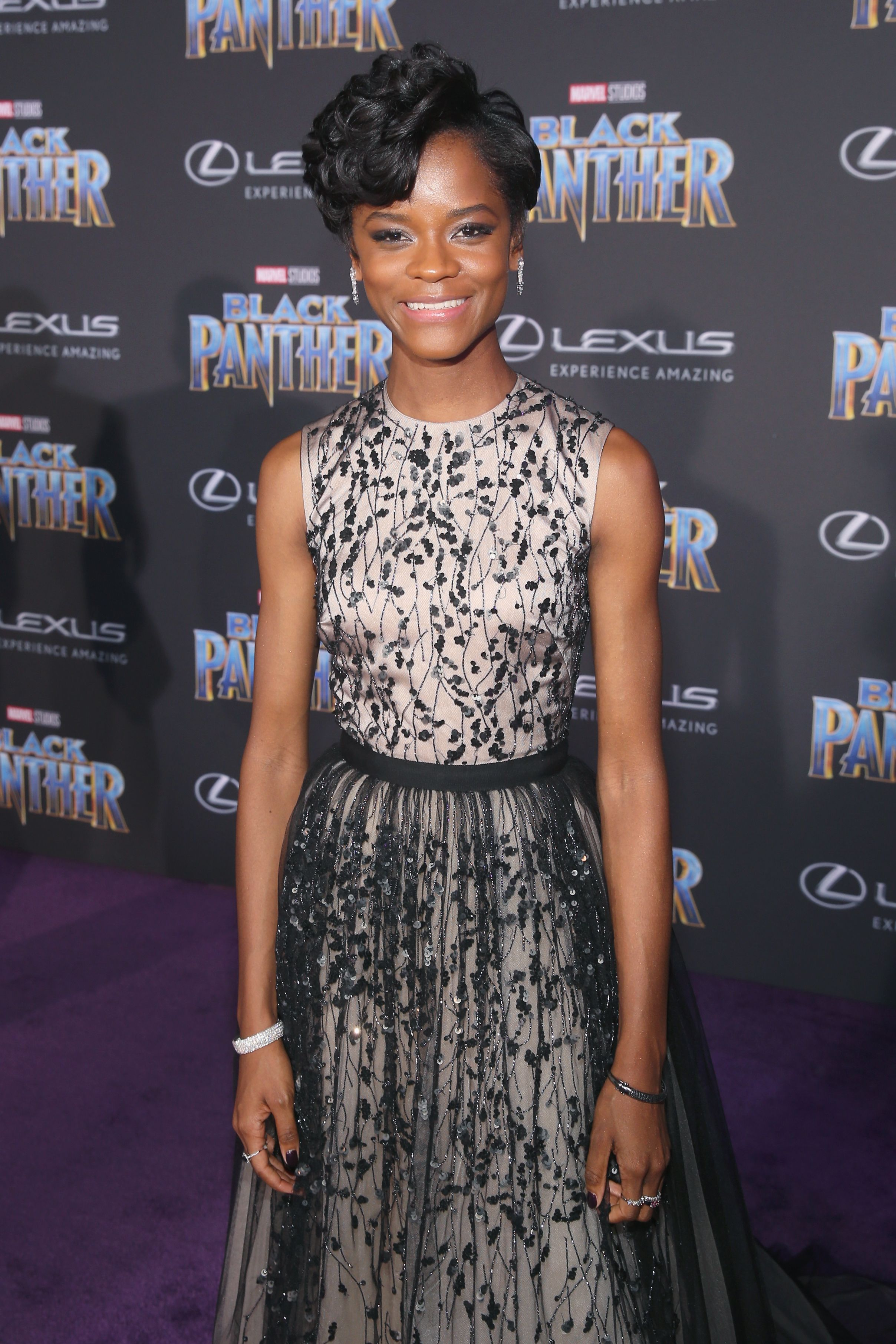 """Letitia Wright during the premiere of Marvel Studios' """"Black Panther"""" at Dolby Theatre on January 29, 2018 in Hollywood, California. 