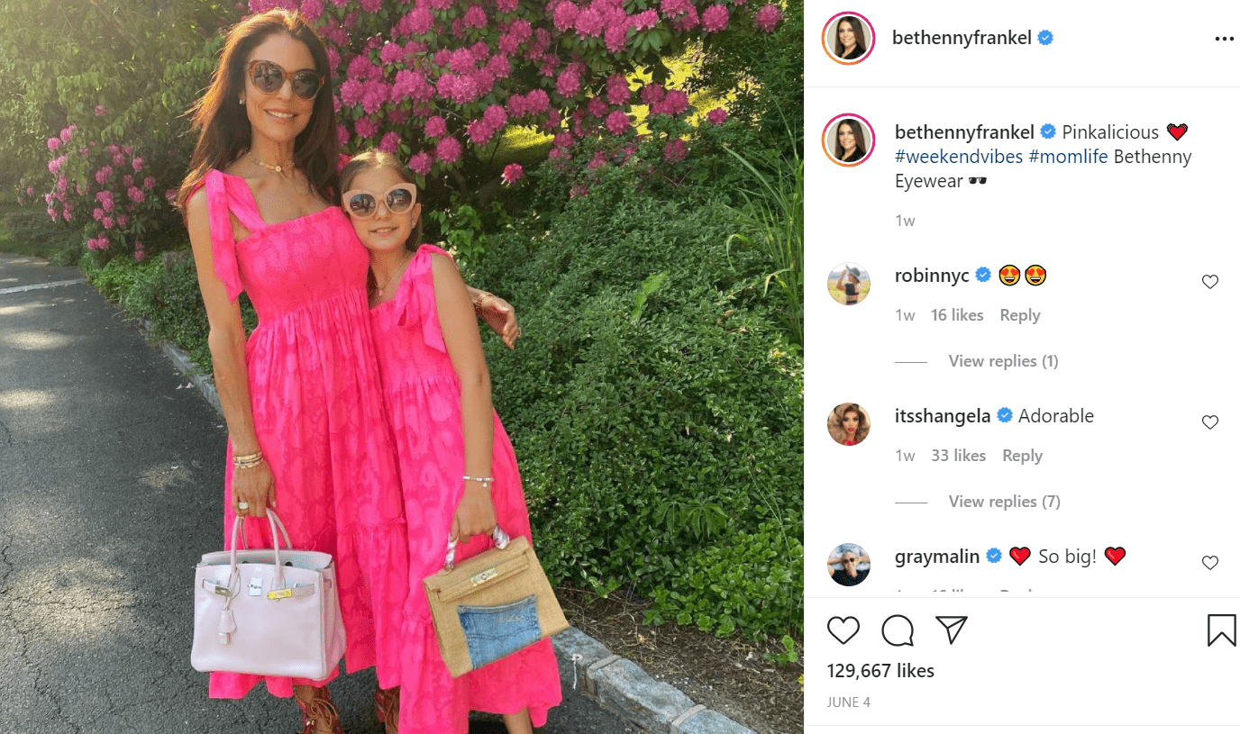 Pictured - Bethenny Frankel twinning with her daughter Brynx in long pink flowy dresses and shades   Source: Instagram/@bethennyfrankel