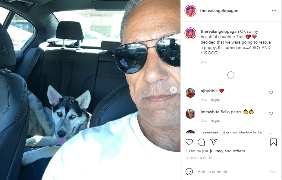 Image of Leah Remini's husband Angelo Pagan and a dog on Instagram | Photo: Instagram/ therealangelopagan
