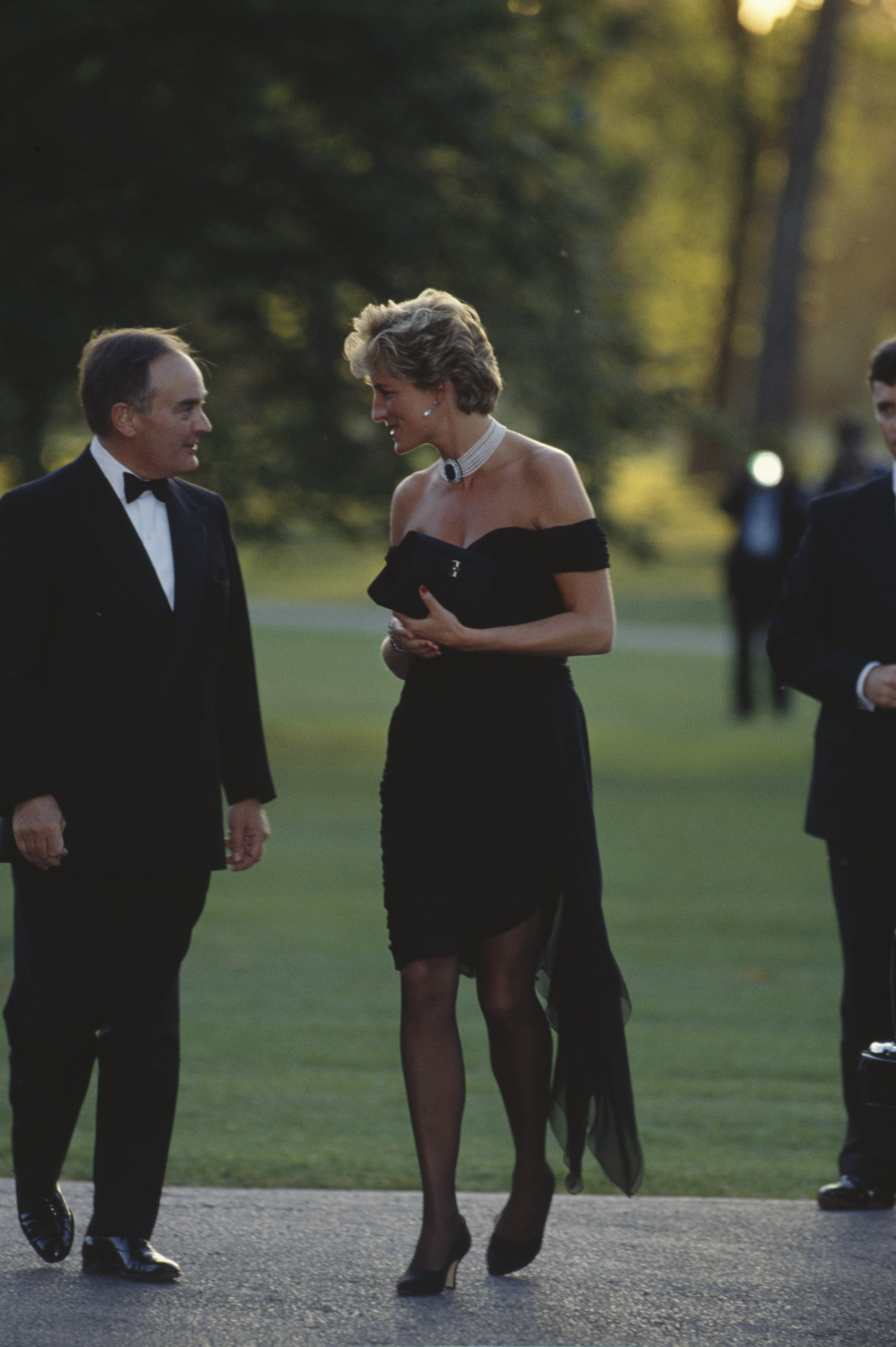 """Prince Diana wearing the """"revenge dress"""" at Vanity Fair's annual fundraiser in 1994. 
