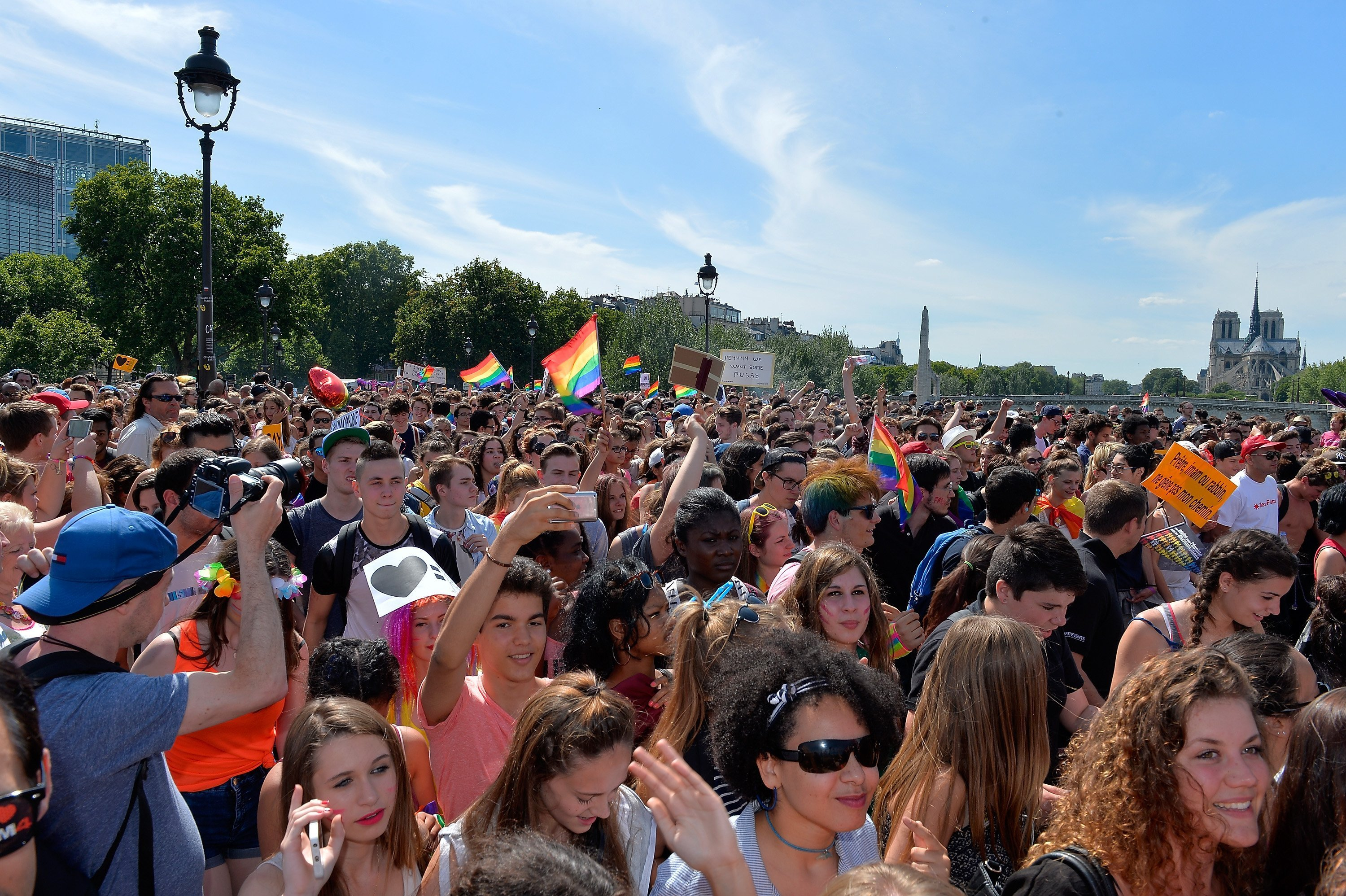 Thousands gathered to support gay rights at the Gay Pride Parade in Paris | Photo: Getty Images