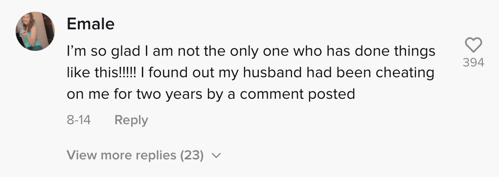 Online community members reply to a woman's story of how she found out her boyfriend was cheating   Photo: TikTok/xbaileyhunter