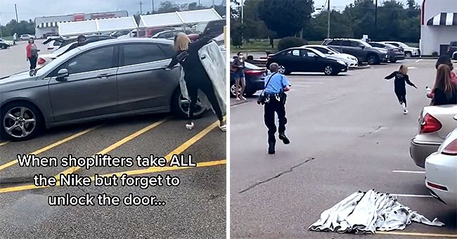 Hilarious Moment Shoplifter Was Left Abandoned by a Driver Right in Front of a Police Guard