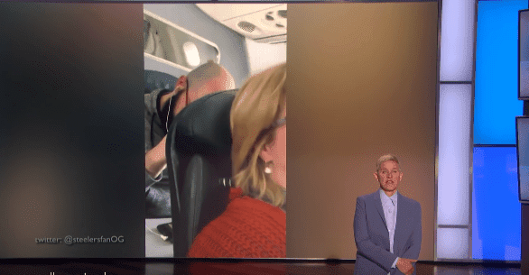 "Ellen DeGeneres shows her viewers the video clip of the ""punching man"" on the American Airlines flight on February 19, 2020. 