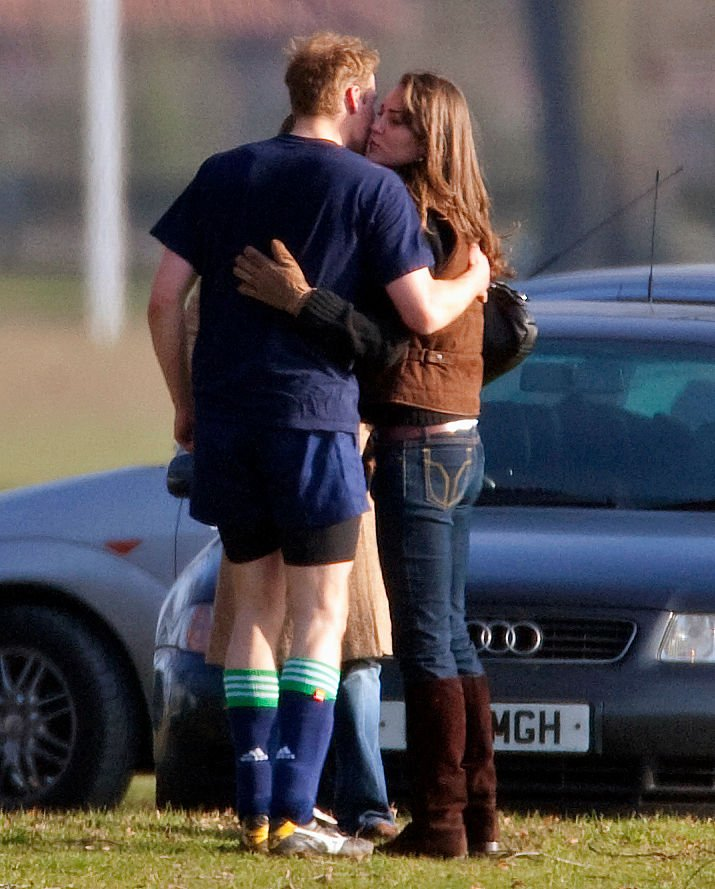 An undated image of Prince William and Kate Middleton kissing | Source: Getty Images