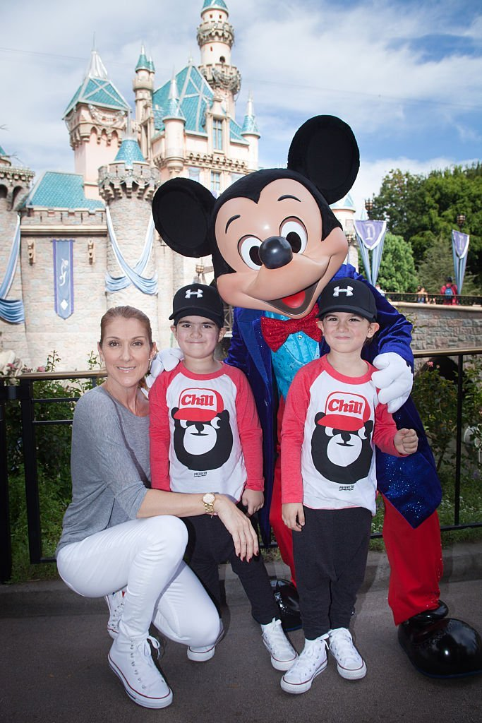 Celine Dion and her twins Eddy and Nelson at Disney Land in 2016.| Photo : Getty Images