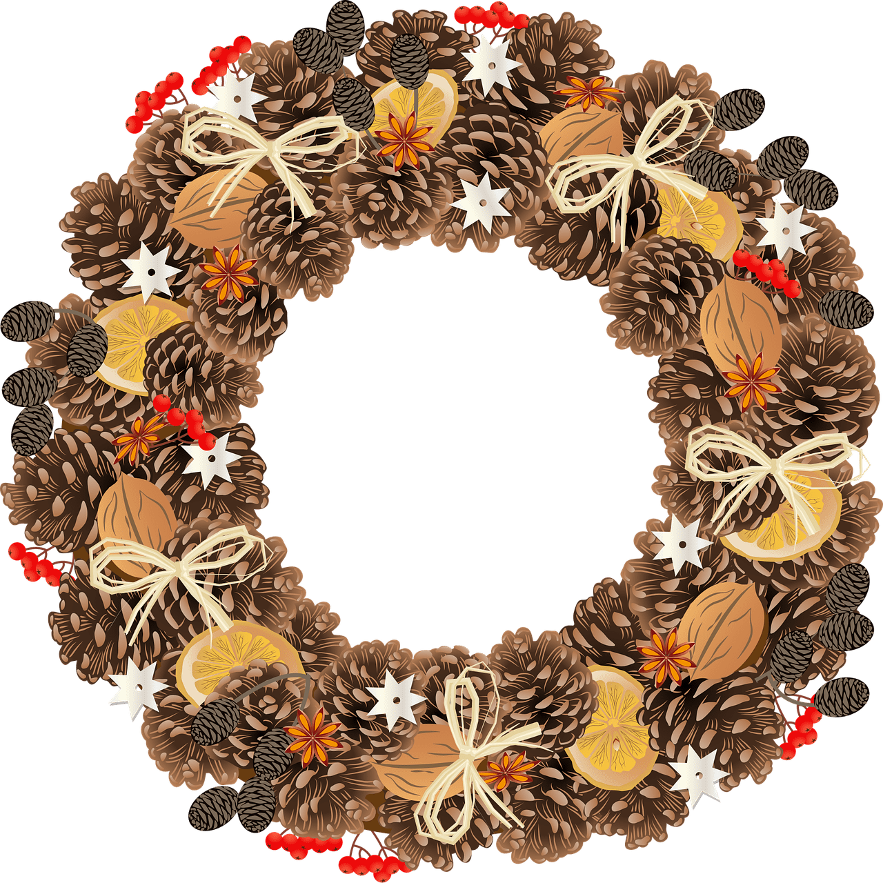 An image of a pinecone wreath. | Photo: Pixabay