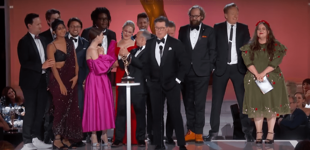 Conan O'Brien pictured on stage during Stephen Colbert's acceptance speech at the Emmys, 2021.   Photo: Youtube/Television Academy.
