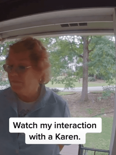 TikToker Ambrosia's home footage of her interaction with a neighbor. │Source: tiktok.com/tizzybizzy92