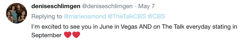 Fan comment on Marie Osmond's tweet. | Twitter/MarieOsmond