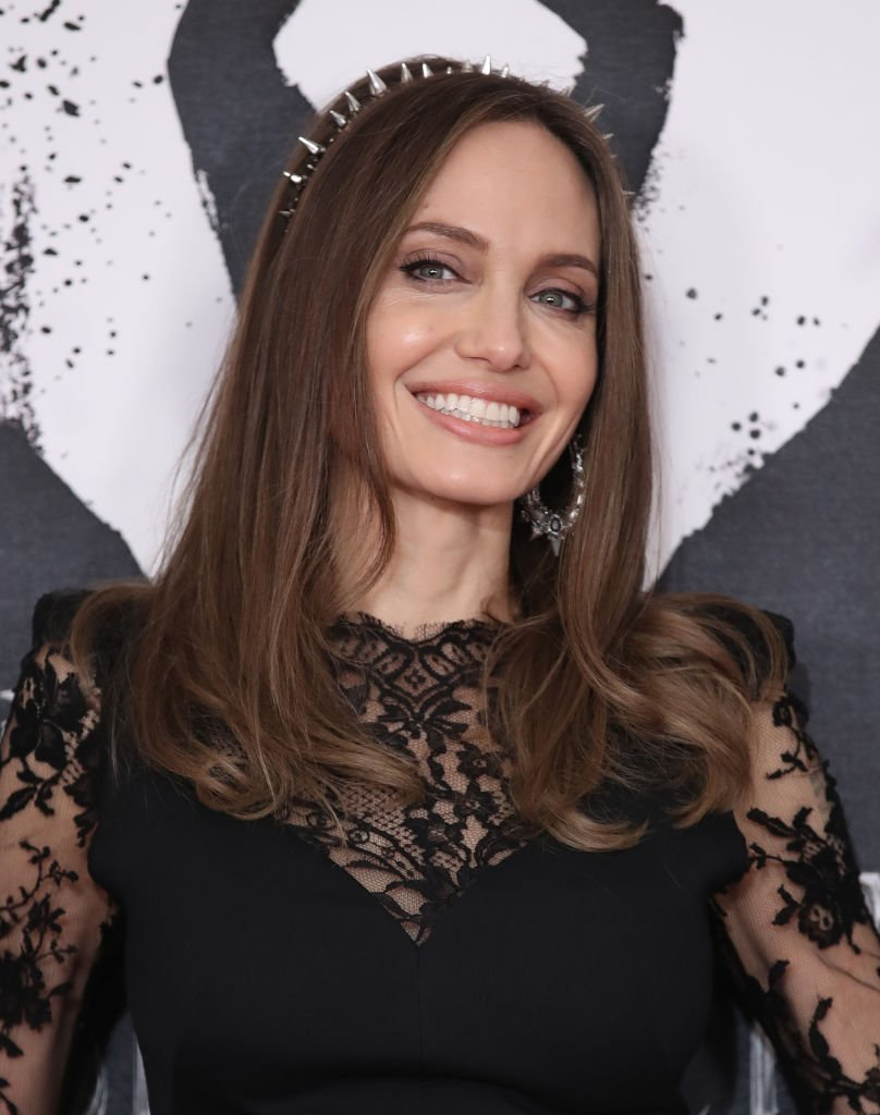 """Angelina Jolie attends a photocall for """"Maleficent: Mistress of Evil"""" at Mandarin Oriental Hotel on October 10, 2019 in London, England. 