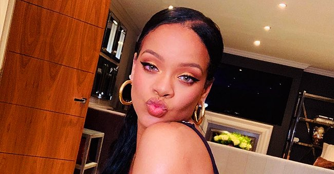 Rihanna Promotes Fenty Beauty's Trophy Wife Life Makeup Collection in a Gold Two-Piece Swimsuit