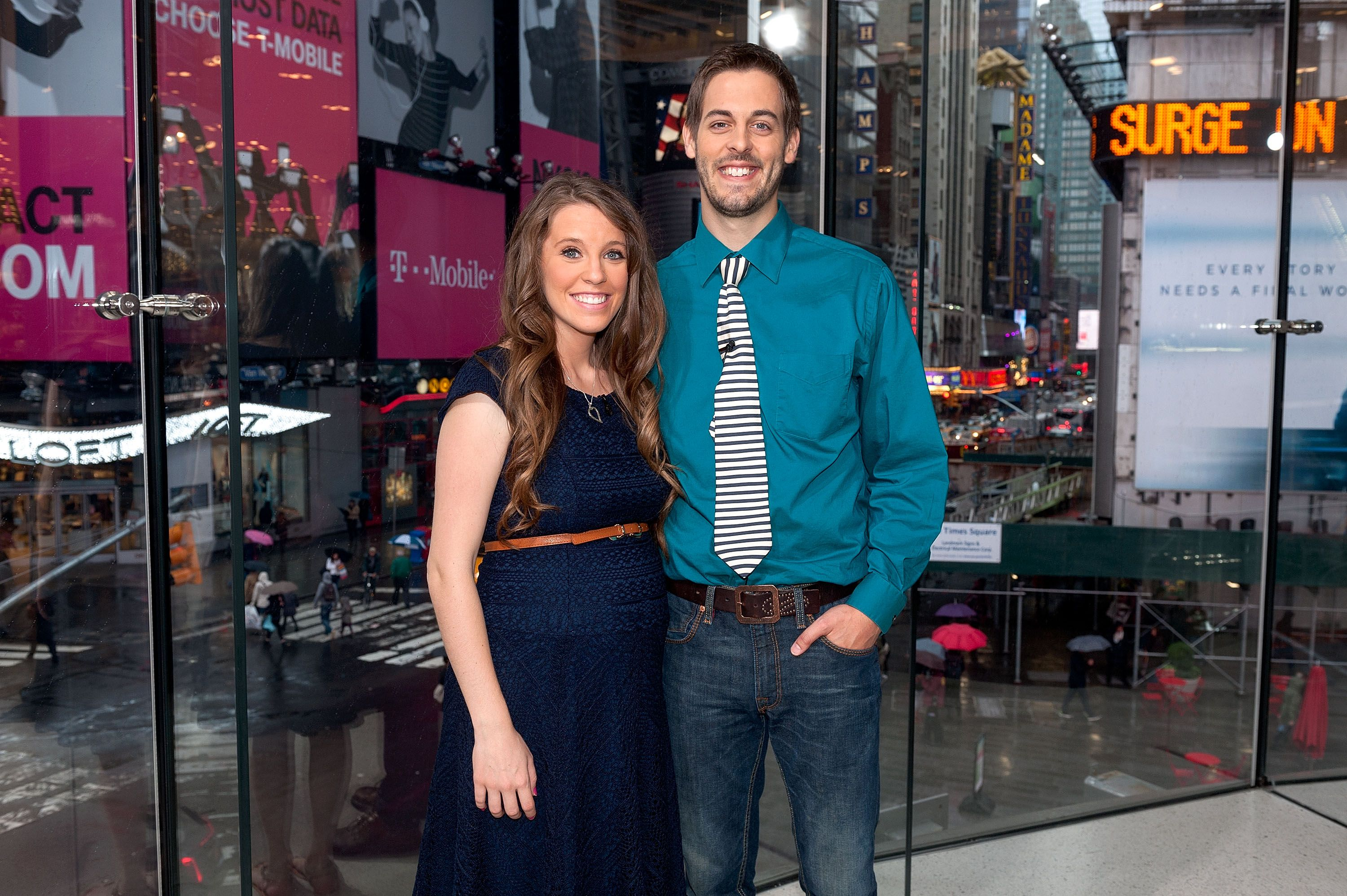 """Jill Duggar Dillard and husband Derick Dillard visited """"Extra"""" at their New York studios at H&M in Times Square on October 23, 2014 