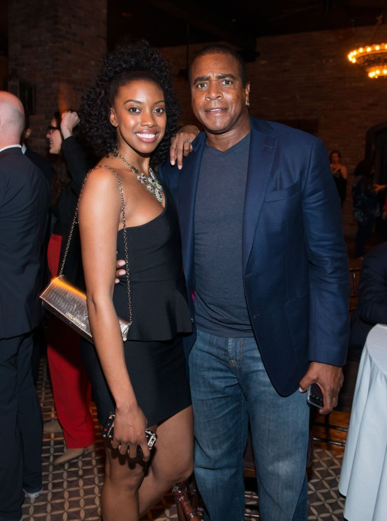 "Condola Rashad and Ahmad Rashad attend the after party for Lucas Hnath's ""A Doll's House, Part 2"" opening night starring Laurie Metcalf and Chris Cooper at Golden Theatre 