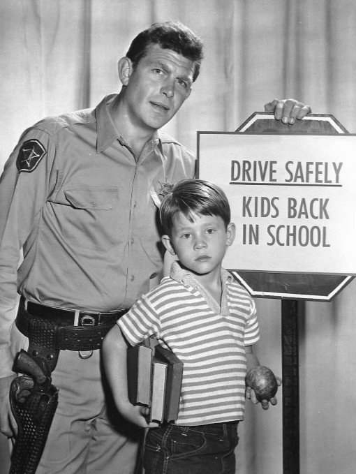 "Publicity photo of Andy Griffith and Ron Howard from the television program ""The Andy Griffith Show"" in 1961 