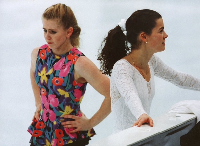 Nancy Kerrigan and Tonya Harding during a practice session at the 1994 Lillehammer Winter Olympics on February 17, 1994 | Photo: Getty Images