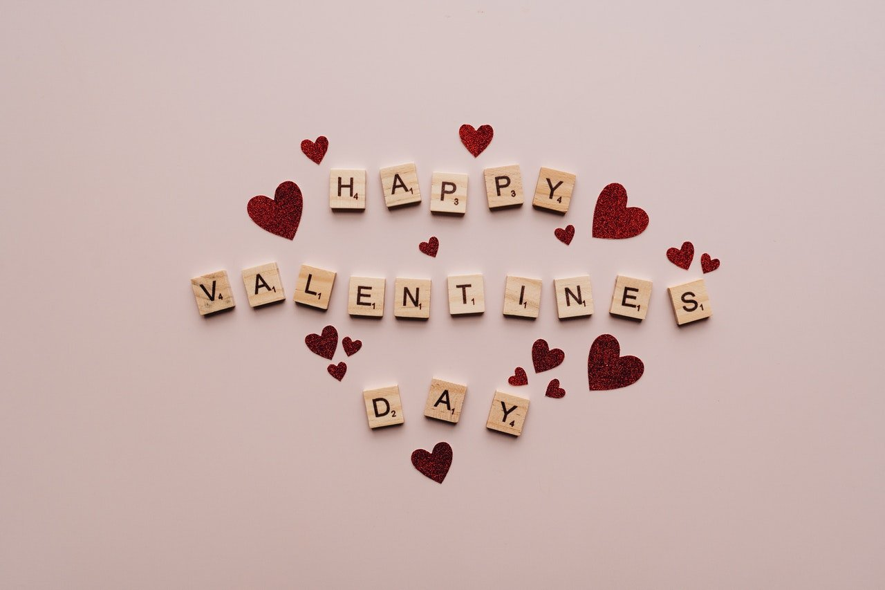 """A tile of letters wishing """"Happy Valentines Day"""" 